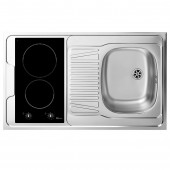 L100 KITCHENETTE EVIER INOX REVERSIBLE 1 CUVE 100CM DOMINO INDUCTION MANETTE MEUBLE 1 PORTE  FRIGO 4*